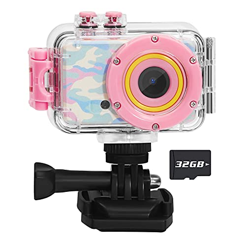 Luoba Kids Camera Waterproof Children Digital Camera for Kids Birthday Gifts Age 3-10,FHD Video Toddler Toy Camera for 3 4 5 6 7 8 Year Old Girls with 32GB SD Card (Pink)