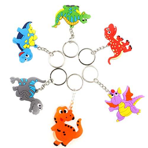Amosfun 6 stücke Dinosaurier Schlüsselanhänger Taschenanhänger mit Schlüsselring Kindergeburtstag Mitgebsel für Kinder Party