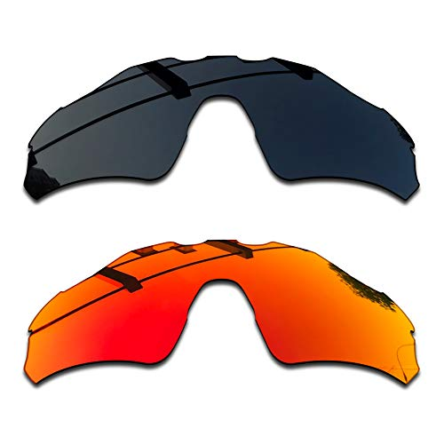 SEEABLE Premium Polarized Mirror Replacement Lenses for Oakley Radar EV Path OO9208 Sunglasses - Dark Black+Fire Orange Mirror