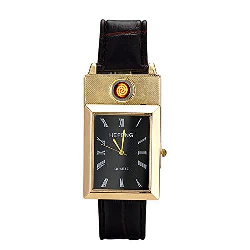 HOBEKOK Encendedor Eléctrico Reloj de Moda USB Recargable a Prueba de Viento Personalidad Encendedor de Tungsteno,Gold