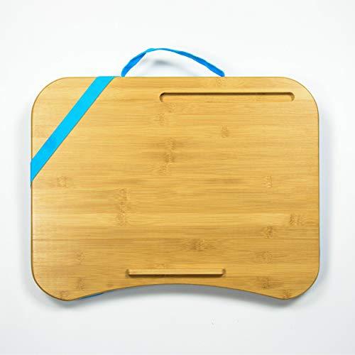 Laptopkissen Blau - Bambus Laptop Kissen für Bett, Reisen, Arbeiten, Zuhause - Laptop Unterlage - Kissentablett - Schoßtablett - Laptopunterlage - Lapdesk - Tragbarer Laptoptisch - Knietablett