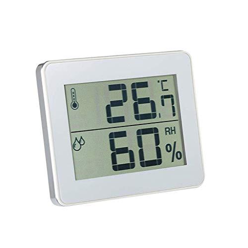 Binnen- en buitentemperatuur buiten en hygrometer, digitale beeldscherm-icoon wit