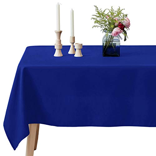 VEEYOO Mantel Rectangular 100% Poliéster Mantel Oblongo para Despedida de Soltera - Cubierta de Mesa Ovalada Suave y Sólida para Bodas Restaurante Fiesta Buffet Mesa (Azul Real, 152x259 cm)