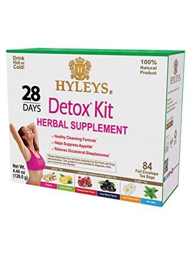 Hyleys Tea 28 Days Detox Kit - 84 Tea Bags  - (100% Natural, Sugar Free, Gluten Free and Non-GMO)