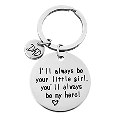 HENGSONG Plated Silver I Will Always be Your Little Girl,ou'll Always be My Hero Girls Alloy Keychains Charms for Christmas Valentines Gift (Dad)
