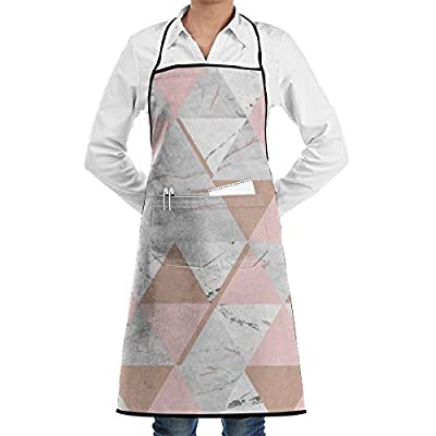 QSMX Bib Apron for Women and Men,Rose Gold Grey Marble Adjustable Chef Aprons with Pockets Unisex Apron for Kitchen Crafting BBQ Drawing Outdoors