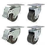 Castor Ruedas industriales Ruedas de servicio pesado de 1,5 pulgadas / 50 mm / 2,5 '' con freno para muebles Ruedas giratorias de hierro fundido de placa 400 kg Resistencia a altas temperaturas Trans