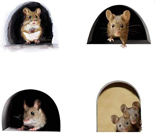 3D Mouse Hole Sticker Pegatinas De Pared De Cocina Grafiti Sala Estar DecoracióN de Pared