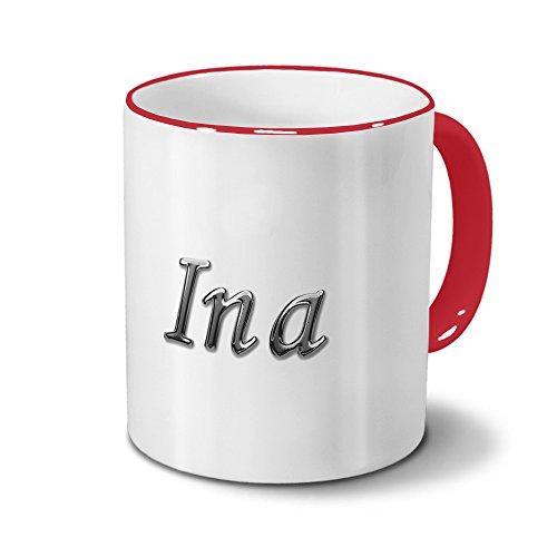 Tasse mit Namen Ina - Motiv Chrom-Schriftzug - Namenstasse, Kaffeebecher, Mug, Becher, Kaffeetasse - Farbe Rot