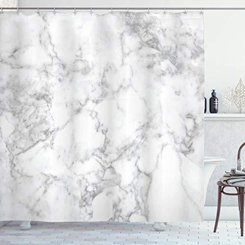 Marmor-Duschvorhang, natürliches Granit-Muster mit Wolkenmuster, Spitze-Effekte, Marmor-Bild künstlerisches Bild, Stoff-Badezimmer-Dekor-Set mit Haken, 183 x 183 cm, Hellgrau