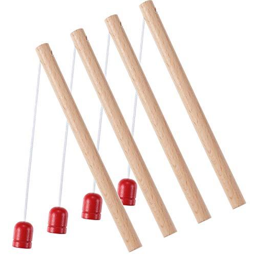 Sumind 4 Pieces Wooden Magnetic Fishing Poles Magnet Poles Fishing Rod for Wooden Magnetic Fishing Game for Kindergarten Preschool Girl Boy