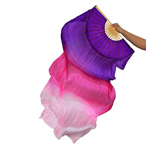 シルクファンベール 2本セット シルク100% ベリーダンス ファンベール シルクファンベール ベール シルク 衣装 扇子 団扇 舞台 小道具 アクセサリー 扇子 団扇 180 * 90 cm (紫ローズ粉)
