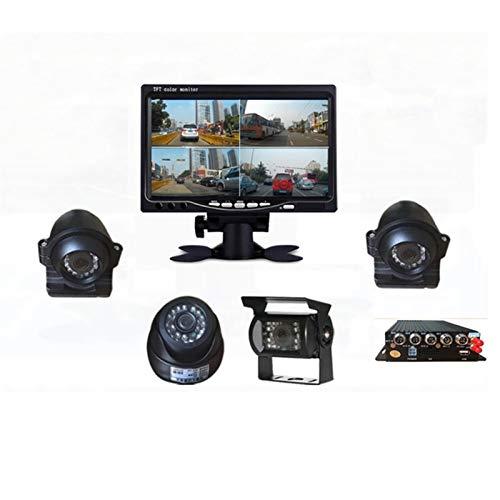 Kit de sensor de aparcamiento 7 pulgadas HD coche 18 infrarrojos Visión nocturna Vista posterior Copia de seguridad de cuatro camisas Monitor de vista trasera puede grabar hasta 128 GB, 800 x 480 RGB
