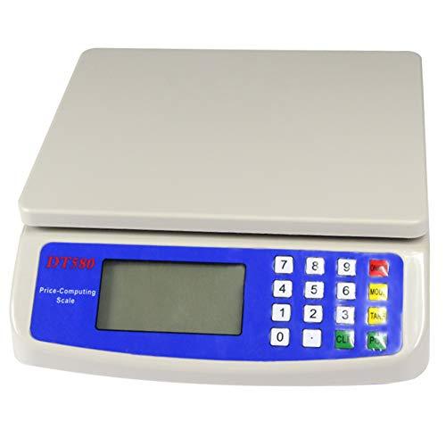 Utoolmart Báscula electrónica de precio, 30 kg x 1 g, LCD digital comercial de productos alimenticios con baterías para pesaje de carne, cocina, tiendas de restaurante