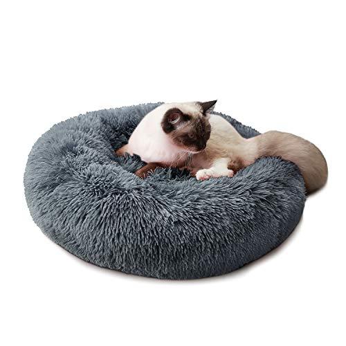Cama para Perros Cama Redonda de Felpa Suave para Mascotas Almohada para Perros Sofá para Gatos Gris 60cm