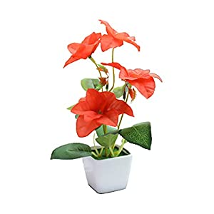 Artificial Flower,White Potted Simulation Phalaenopsis Realistic Natural Green Plants Home Christmas New Year Wedding Party Warm Artificial Flower Decoration- Red Bougainvillea