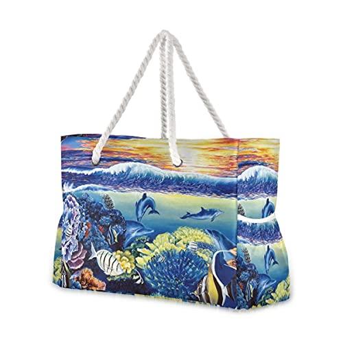 Bolsas de playa grandes, lona, bolsa de hombro, Corals_Sea_Fish_Dolphins_Belinda_Leigh_Art_Ultra_3 bolsas resistentes al...