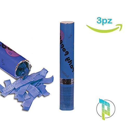 Palucart 3 sparacoriandoli Blu spara coriandoli Blu Party Popper 30cm Cannone sparacoriandoli Colorati 4177
