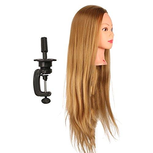Fenteer Têtes D'exercice Tête À Coiffer Cheveux Naturel Coiffure Cosmétologie Pratique Mannequin Poupée de Formation d'exercice pour Salon Coiffure - marron, 26