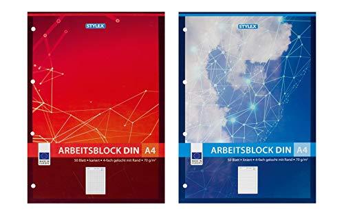 2x Arbeitsblock / Schreibblock / je 1 Block liniert + kariert / DIN A4 / gelocht