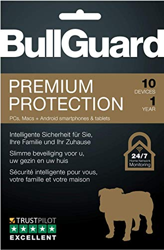 BullGuard Premium Protection 2019 1Y/10 Geräte Retail|Standard/Upgrade/Home/Personal/Professional usw.|10 Gerät|1 Jahr|PC, MAC, Android|Download|Download