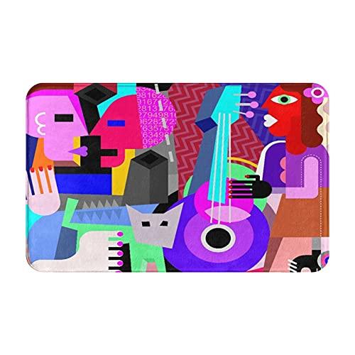 NANITHG Alfombra de Baño Antideslizante,Picasso la Pareja de Baile y la Mujer Tocando la Guitarra Danza Fina cubismo Abstracto,Absorbente Tapete del Piso de Microfibra de Lavable a Máquina Sua