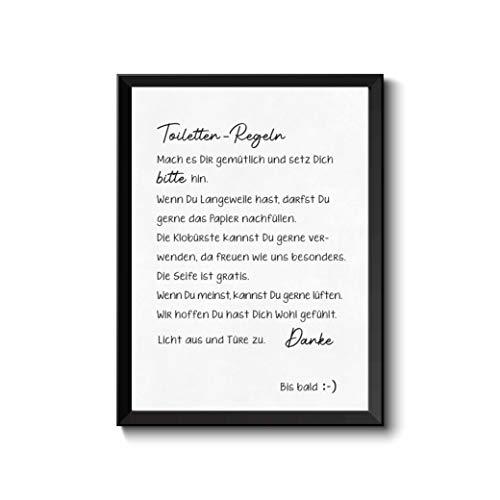 Bild Toilettenregeln, Typografie mit Hand-Lettering Design, schwarz-weiß, edel, Poster Druck Geschenk