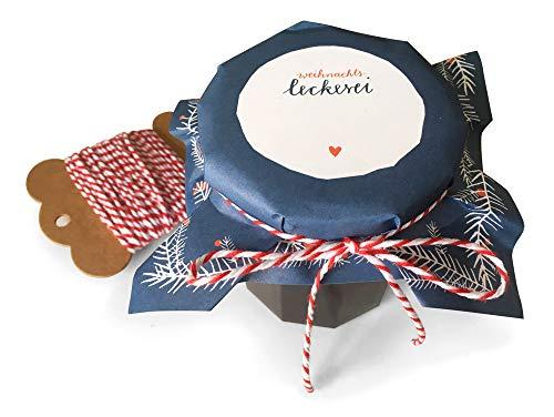 25 Marmeladendeckchen Blau als Abreißblock, weihnachtliche Recyclingpapier Gläserdeckchen zum selbst beschriften, für Eingemachtes, selbstgemachte Marmelade, Weihnachtsgeschenke, inkl. 10 m Schnur