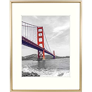 Frametory 11x14 Aluminum Photo Frame with Ivory Color Mat for 8x10 Picture & Real Glass Metal Picture Frame Collection  Gold Pack of 1