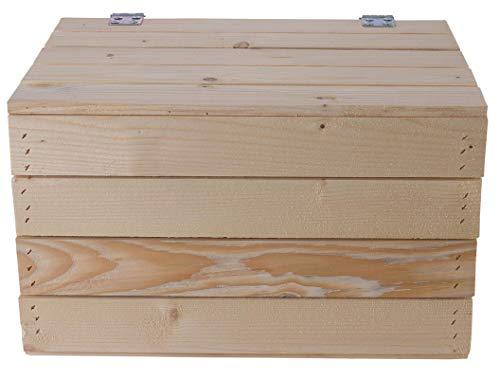 Helle Natur Holztruhe 49cm x 36cm x 29cm Obstkisten Weinkiste Truhe unbehandelt Vintage Look Landhaus Wohnzimmer Schatztruhe Kiste aus Holz - 3