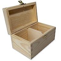 Creative Deco Boîte à Thé en Bois | Coffret Caisse de Rangement Sachet Non Peinte | Diviseurs Amovibles | Parfait pour Découpage, Stockage et Décoration