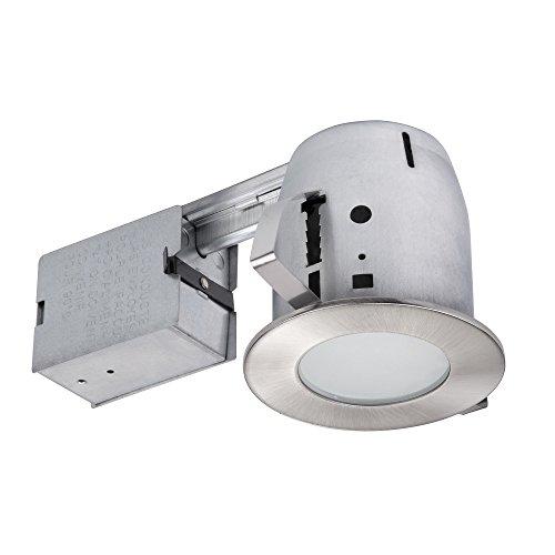 """Globe Electric 4"""" LED IC Rated Flush Round Trim Recessed Lighting Kit, Brushed Nickel, Frosted Glass, Easy Install Push-N-Click Clips, LED Bulb Included, 3.88"""" Hole Size 90972"""