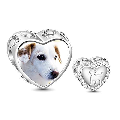 GNOCE Personalisiert Foto Charms Herz Hund S925 Charm Beads Weißer Saphir Foto Charme passendes Armband und denkwürdiges Geschenk der Halskette