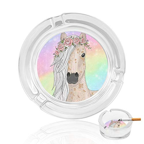 Cigar Ashtrays Rainbow Flower Horse Beautiful Rainbow Outdoor Vintage Glass Ashtray For Men Man Women Outside Small Cute Portable Cool Fancy Crystal Weed Cigarette Ash Tray Home Decorative