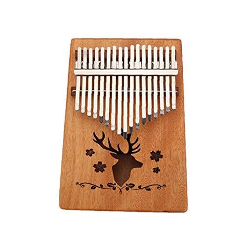 DierCosy Holz Kalimba 17 Keys Finger Klavier Tragbare Mbira Sanza Daumenklavier Mit Tuning Hammer Und Tragetasche Musik-Spielzeug Elk Muster