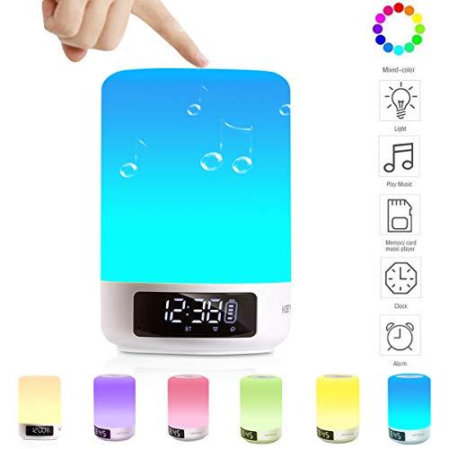 Keynice 3 en 1 Lámpara de Mesa, Lámpara Táctil con Altavoz Bluetooth , Lámparas de Escritorio con Reloj Despertador, Lámparas Mesita de Noche para Habitaciones