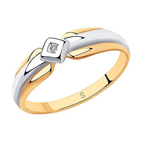 Anillo de plata 925 con un diamante de corte redondo, chapado en oro., Metal precioso.,