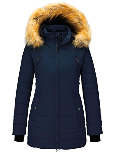 Wantdo Women's Long Parka Quilted Thicken Cotton Coat Jacket Dark Blue M