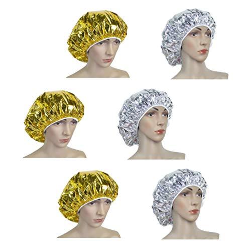 Beaupretty 6 Stks Haarverzorging Cap Behandeling Spa Cap Diepe Conditioning Cap Aluminiumfolie Warmte-Isolatie Voor Vrouwen Mannen Salon Home Spa Haarverven Professionele Kappers Tool (Gouden Zilver)