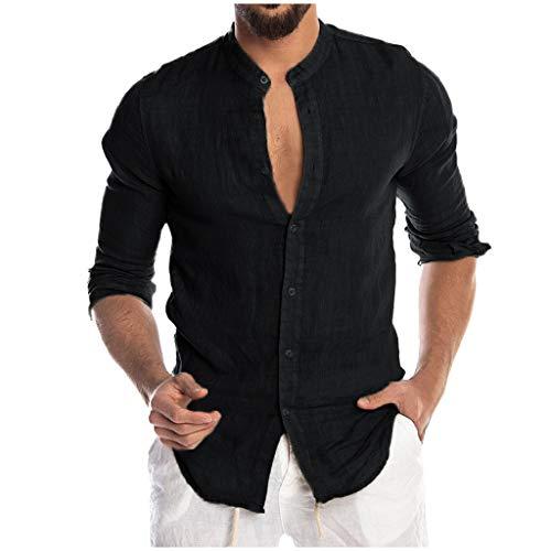 DNOQN Running Shirt Herren T Shirt Lange ärmel Mode für Männer Beiläufig O-Ausschnitt Taste Solide Strand Langarm Top Bluse L