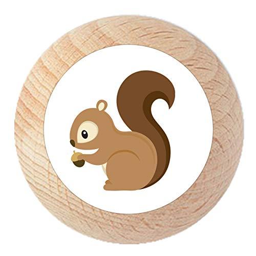 Möbelknauf Eichhörnchen natur klar lackiert Holz Kinder Kinderzimmer 1 Stück Waldtiere