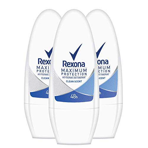Rexona Women Deo Roll-On Maximum Protection Clean Scent Anti-Transpirant, 3er Pack (3 x 50 ml)