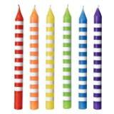 """Assorted Color Striped Birthday Candles, 3.3"""" - 12 Pcs."""