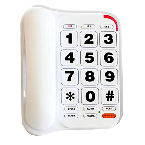 Large Button Phone for Seniors, HePesTer P-46 Amplified Corded Phone with Speakerphone for Elderly Home Landline Phones Wall Mountable with Loud Ringer, Big Keys, One-Touch Dialing