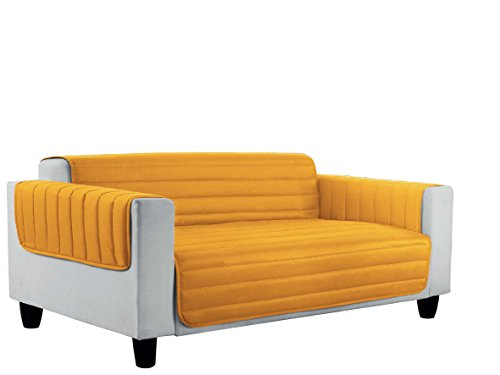 Datex Elegant Copri Divano a Doppia Faccia in Microfibra Anallergica, Multicolore (Arancio/Giallo), 3 Posti