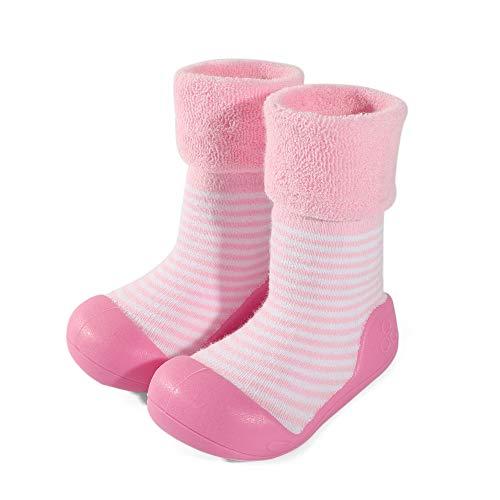 LACOFIA Zapatos de Calcetines Antideslizante de bebé niñas niños Botas de calcetín con Suela de Goma para bebé Unisex Rosa 25/25.5