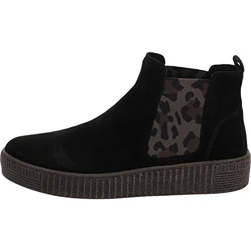 Gabor Damen Stiefeletten, Frauen Chelsea Boots,Wechselfußbett,Best Fitting, Schlupfstiefel flach Stiefel,schwarz/Leo (anthr.),39 EU / 6 UK