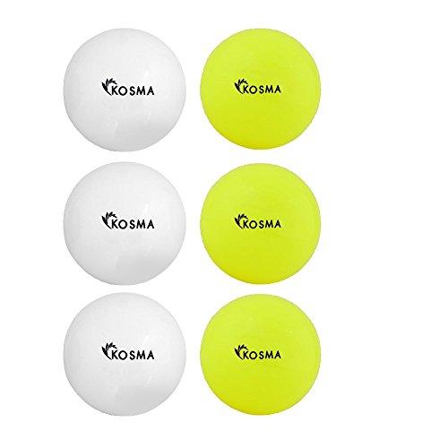 Kosma Set mit 6 glatten Hockeybällen | Outdoor Sports PVC Übungsball - (3 Weiß, 3 Gelb)