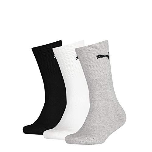 PUMA Junior Sport Socks (3 Pack) Calcetines, Grey/White/Black, 31-34 Unisex niños