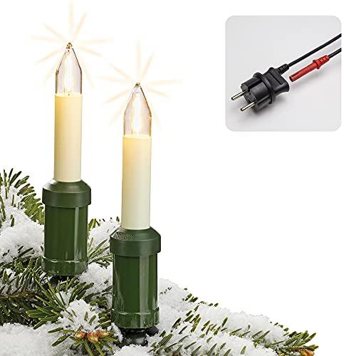 Hellum Lichterkette Made-in-Germany Weihnachtsbaum, Kerzen Lichterkette außen mit Clip, 30 warm-weiße LED-Filament, beleuchtet 2900cm, Kabel grün Schaft elfenbeinfarben, für Außen mit Stecker 845563